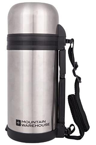 Mountain Warehouse Food Flask with Handle 1.2 Litre - Double Walled Vacuum Insulation, Dual Purpose Lid with Small Bowl, 2 Water Tight Stoppers with Handle & Strap Silver