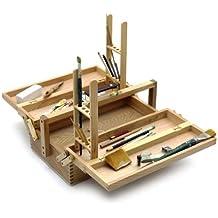 Artina - Caja de pinturas VIENNE - 2 soportes para pinceles - cómoda, portátil y plegable - 42x18x24 cm