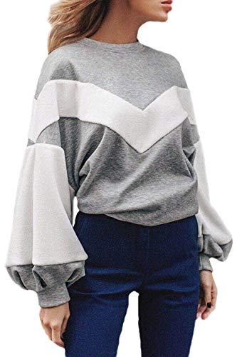 Frauen Casual Langarm Scoop Ärmel Fleece Sweatshirt Hals Puff Pullover Flickenteppich 20er Jahre Pulli Tops Herbst Winter (Color : Grey, Size : M) -