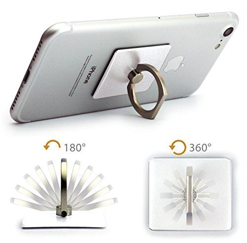 MyGadget Fingerhalterung optimalen Einhandbedienung Fingerhalter Griff Smartphone Handy u.a. iPhone 7, 6, Plus, Samsung Galaxy S6, S7, Edge in Silber Weiss