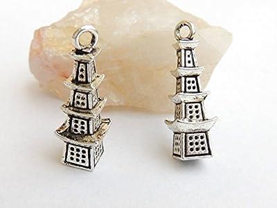 5 breloques - pendentif pagoda - 25x8mm - argent tibétain