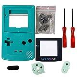 eJiasu Carcasa de GBC, Housing Shell Reemplazo de Repuesto de la Caja de Paquete de Piezas para Nintendo GBC Gameboy Color (Cian, Caso, Lente, Destornillador)