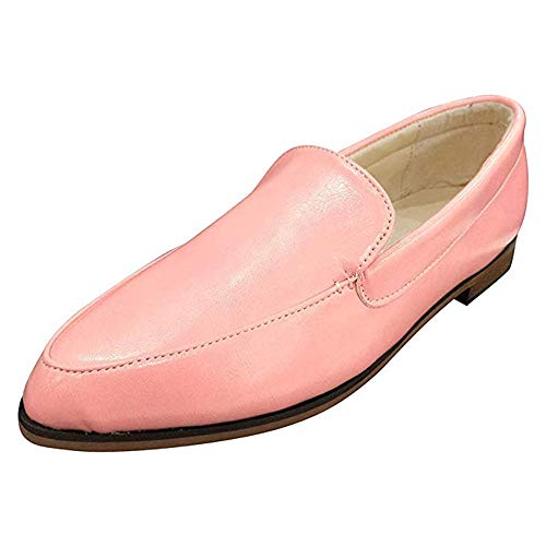 Mokassins Damen Leder Loafer Mit Absatz Halbschuhe Flache Knöchel 2.5 cm Keilabsatz Bootsschuhe Sommer Casual Elegant Rosa 39