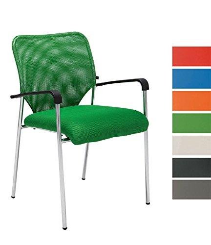 CLP Stuhl CUBA mit Armlehne, Stapelstuhl / Besucherstuhl, Sitzfläche gut gepolstert grün