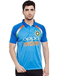 Step Shoes Blue Polyester Polo Neck Half Sleeve India Cricket Team T-Shirt For Men And Women