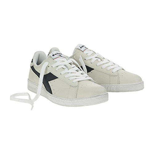 Diadora game l low waxed, scarpe  low-top unisex – adulto, bianco (bianco/blu mar caspio), 43 eu