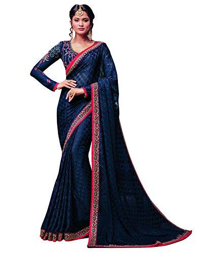 Gorgeous Blue Brasso Embroidered Work Designer Party Wear Saree
