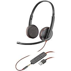 Casque Mono Filaire Plantronics Blackwire 3200 Stéréo USB & Smartphone 3,5 mm Noir
