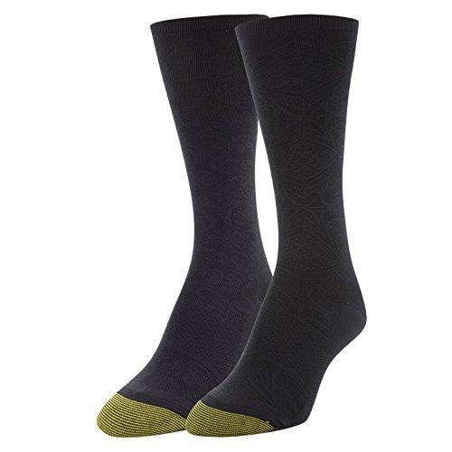 Gold Toe Damen Little Black Tile & Floral Crew Socks, 2 Paar, Schuhgröße 39-43 -