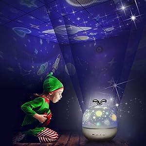 Sternenhimmel Projektor Lampe Kinder LED Nachtlicht Baby Sterne Lampe mit 6 Projektion Films 5 Licht Modus 360° Drehbar…