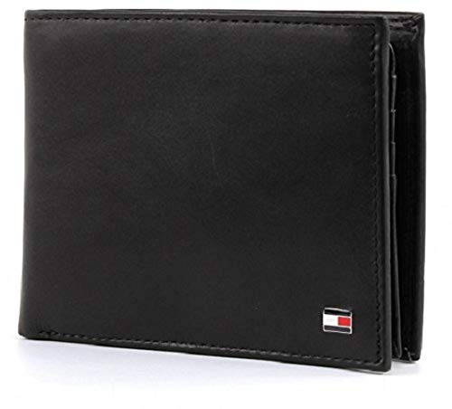 Tommy hilfiger eton cc flap and coin pocket porta carte di credito, 75 cm, nero