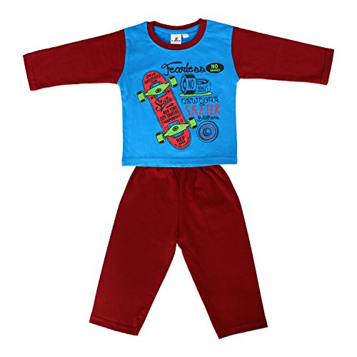 Tiddlee Baby Kids Clothes - for Girls and Boys - Children Combo set - Pack of Printed Full sleeve T-Shirt and Colored Pajama Pants / Legging / Pajami / Lower / Trouser / Pyjama - Soft & 100% hosiery cotton - Blue color & Maroon colour - Child Skin friendly, Durable & High Quality Coloured Clothing Apparel - (3-6 months)  available at amazon for Rs.229