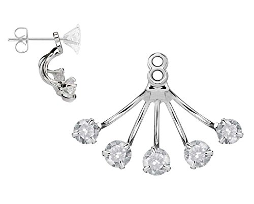 BlingKing - 1 Ohrstecker Ear Jacket Prong - Silber Ear Cuff / Schaukel-Ohrring / Pendel-Ohrring - Stecker + Anhänger