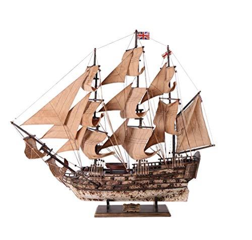 Nwn Massivholz Segelboot Modell Simulation Bronze Boot Desktop Ornamente Retro Kunsthandwerk Sammlung Wohnzimmer Schlafzimmer Studie Dekoration (Size : M) -
