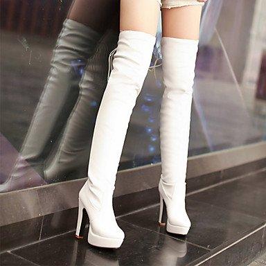 RTRY Scarpe Donna Pu Autunno Inverno Comfort Novità Moda Stivali Stivali Chunky Tallone Punta-Coscia Stivali Alti Lace-Up Per Office &Amp; Carriera US8 / EU39 / UK6 / CN39