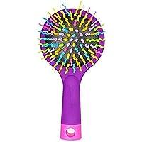 Pixnor Arcobaleno Volume antistatico Magic Hair Curl dritto Massaggi pettine spazzola con specchio posteriore