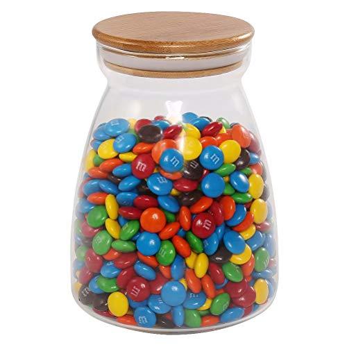 77L Futterbehälter für Schokolade, 960 ML (32,4 FL OZ), LebensmittelLager mit versiegeltem Bambus Deckel, klares Glas Lager für Schokolade, Kaffee, Süßigkeiten und mehr (Deckel Schüssel Salz Mit)