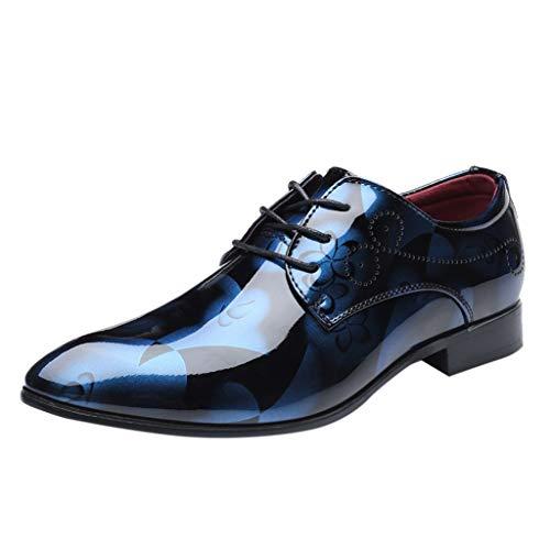 FNKDOR Schuhe Herren spitz Geschäft Freizeit Lederschuhe Britischer Stil Formelle Kleidung Berufsschuhe Glänzend Bunt Schnürsenkel Business-Schuhe Blau 46 EU