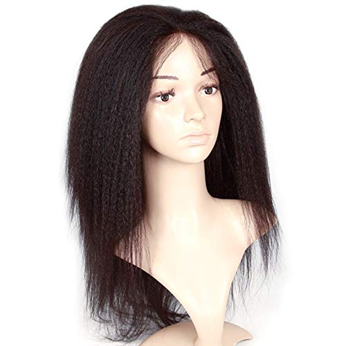 QQ@QQ Perücken Gerade Echthaar Langes Hair Long Kinky Straight Lace Front Wigs Pre Plucked 13 * 5 with Curly Bob Wigs for Black Women Glueless Natural Black Hair 150% Density 22inch -