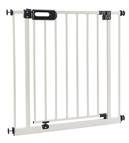 ♥ BOMI® Treppen Gitter ohne Bohren Merle 63-222 cm | 90° Feststell-Funktion | Absperrgitter weiß für Treppen, Türrahmen | Hochwertiges Treppenschutzgitter mit Tür