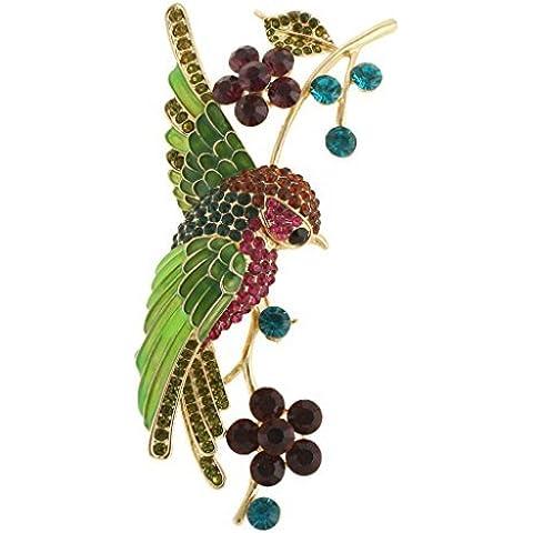 EVER FAITH® Parrot Vite Spilla Verde austriaco di cristallo Gold-Tone A13625-12 - Vintage Del Strass Pin