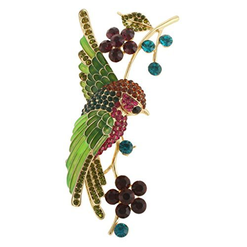 EVER FAITH® Parrot Vite Spilla Verde austriaco di cristallo Gold-Tone A13625-12
