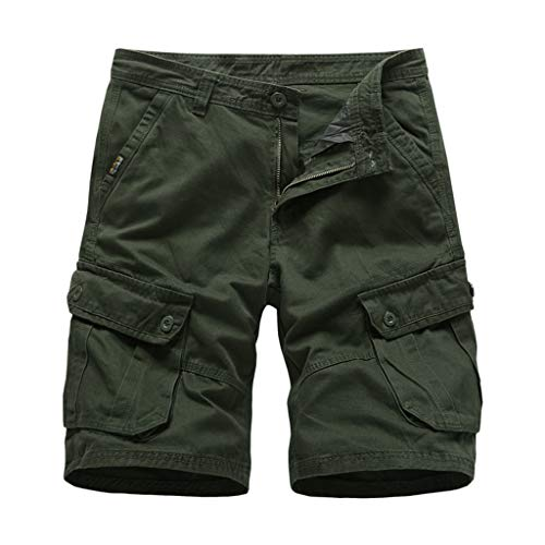Cargo Shorts Herren Chino Kurze Hose Sommer Bermuda Sport Jogging Training Stretch Shorts Fitness Vintage Regular Fit Sweatpants Baumwolle Qmber Tasche Gerade Brief gedruckt Shorts Schwarz (AG,34) - Hosenträger Gürtelschlaufe, Für Männer