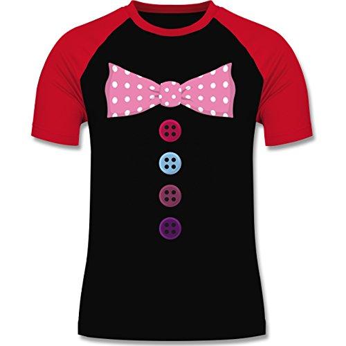 Karneval & Fasching - Clown Kostüm rosa Fliege - XXL - Schwarz/Rot - L140 - zweifarbiges Baseballshirt für Männer