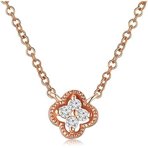 LR accessori 9ct oro Quadrifoglio pavé diamante collana 16