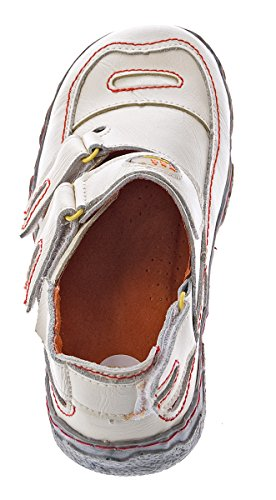 Damen Comfort Leder Sandalen TMA 7093 Schuhe Schwarz Weiss Rot Grün Halbschuhe Sandaletten Weiß