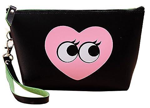 Mode Portable Trousse de Maquillage Pochette de Maquillage pour Filles Dames Sac Cosmétique avec Fermeture à Glissière Imperméable à l'eau PU Organisateur de Cosmétiques Sac de Toilette Accessoire de voyage - Noir-mignon coeur