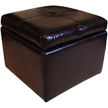 Leather Storage Footstool Pouffe Ottoman (Black)  sc 1 st  Amazon UK & Leather Storage Footstool Pouffe Ottoman (Black): Amazon.co.uk ... islam-shia.org