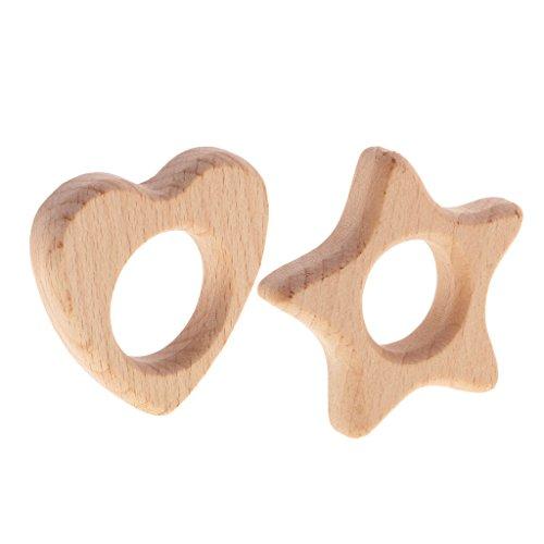 Gazechimp 2 Stück Beißringe aus Holz Herz und Stern Form Schnuller Baby Ring Teether Zahnen Spielzeug