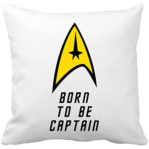 Coussin de chaise avec garnissage Star Trek né pour être capitaine Born to be Captain 35 x 35 cm blanc