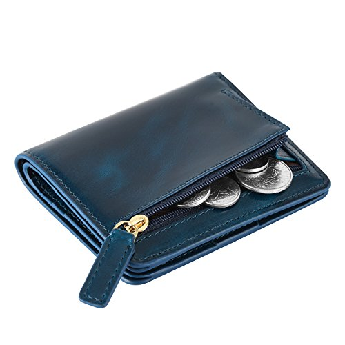 Kattee Damen RFID Blocking Brieftasche Kreditkartentaschen Leder Klein Bifold Portemonnaie Reißverschluss Geldbörse Blau (Leder Kleine)