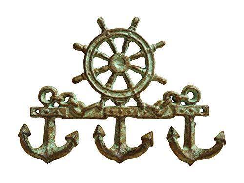 Maritime Hakenleiste Steuerrad & Anker 23 x 17cm Gusseisen Handtuchhaken Schlüsselhaken(GR)