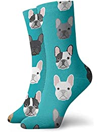 2ac594aa824 French Bulldogs Men Women Novelty Funny Crazy Crew Sock Printed Sport  Athletic Socks 30cm Long Personalized