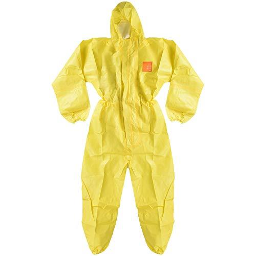 Tuta protettiva per liquidi chimici Pellicola protettiva protettiva contro alcali e alcali protettivi + Tuta non tessuta con cappuccio, polsino elastico (giallo)(M)