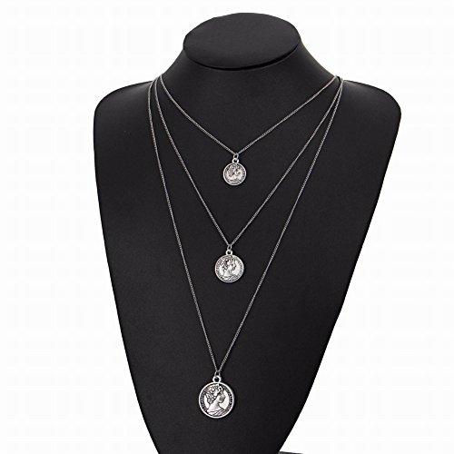 MingXinJia Choker Gesicht Anhänger Multi-Layer-Retro-Schlüsselbein Halskette, Silber