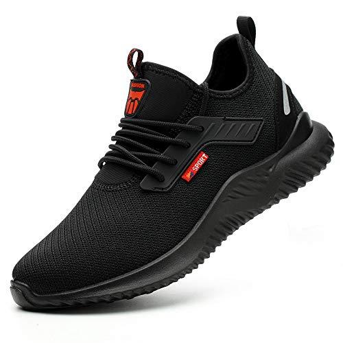 Ayqyc Sicherheitsschuhe Herren S3 Arbeitsschuhe Damen Leicht Atmungsaktiv Schutzschuhe Stahlkappe Sneakers, Schwarz-c, 40 EU