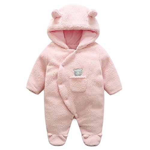 Vine Baby Mädchen Schneeanzüge Winter Fleece Overall mit Kapuze Strampler Footed Jumpsuit, Rosa 0-3 Monate - Kapuzen Baby Jacke Mädchen