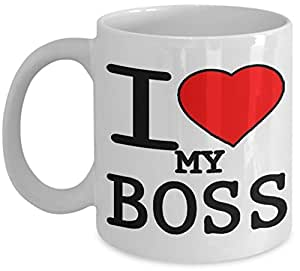 I Love My Boss Tasse cadeau avec motif cœur