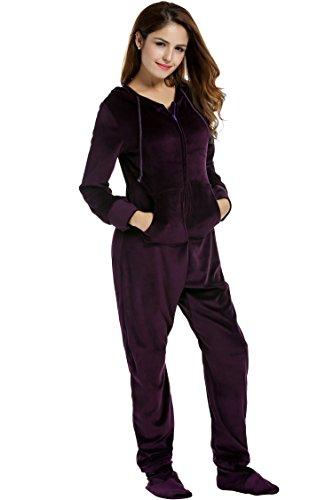 UNibelle Erwachsenenstrampler mit Füßen Onesie Schlafanzug Schlafoverall Jumpsuit körpergrößenabhängige Pyjama Dunkles Violet Dunkles Violet XXL - 4