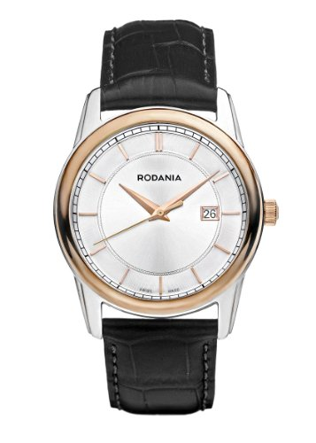 Rodania Swiss Celso Men's Quartz Watch with Silver Dial Analogue Display and Black Leather Strap RS2507323