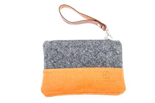Stil-Macher Taschenorganizer aus Filz - Schminktasche - Makeup Tasche - Handtaschen-Organizer - Geldbörse - Portemonnaie - Geldbeutel - Kulturtasche - Geldbeutel ... (anthrazit-orange) -
