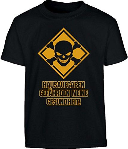 Hausaufgaben gefährden Gesundheit Schülershirt Kinder T-Shirt - Gr. 140-182 X-Large Schwarz (Hausaufgaben-kinder-t-shirt)