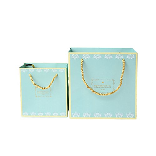 Seil Griff Tote (4/lot Hochzeit Geschenk Beutel Tote Paper Bag mit Seil Griffen, 14x 15x 7cm, S)