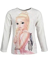 Top Model, supermodelo niñas Camiseta, T-Shirt, Manga Larga, Blanco