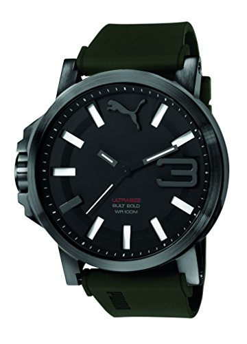 Puma Time Men's Quartz Watch with Black Dial Analogue Display and Silicone Green Strap - PU103911002