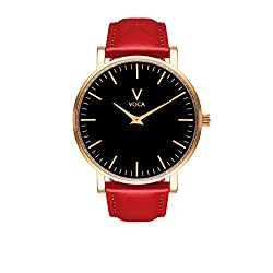Tempus 40mm Black and Gold with Red leather strap